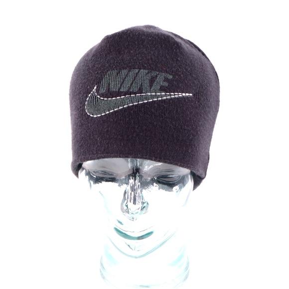Vintage Nike Big Swoosh Beanie Hat Black